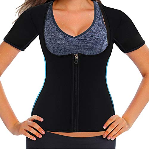 NOVECASA Sauna Camiseta Mujer Fitness/Entrenador de Cintura Neoprene/Corsé Transpirable Body Shaper con Cremallera para Peso Pérdida Deporte Entrenamiento (M, Camiseta Corsé)