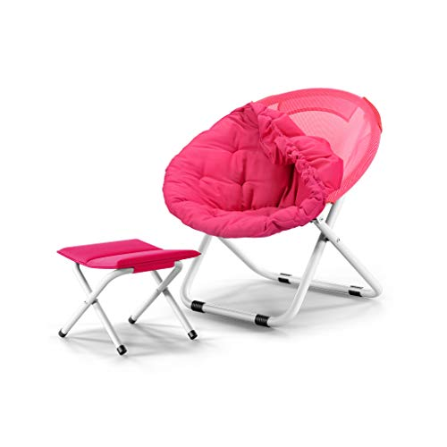 Moon Chair, Lounge Chair, Pliage, Paresseux, Dos, Maison, Balcon, Pause déjeuner, Nap, Bureau, Student, Dortoir, Lounge, Capacité de roulement 120Kg (Color : Pink)