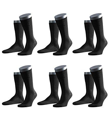 FALKE Herren Business-Socken Tiago 14662 6 Paar, Farbe:Schwarz;Sockengröße:45-46;Artikel:-3000 black