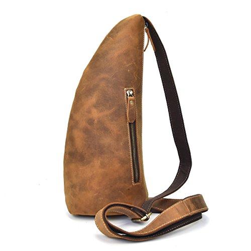 Herren Vintage Echtes Leder Sling Bag Brust Schulter Rucksack Umhängetasche für Männer Frauen (Light Brown)