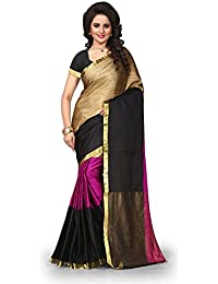 Rajeshwar Fashion Women's Cotton Solid Saree With Unstitched Blouse Piece (3 PATA PINK ST_Rani MANESH PT_Gold...