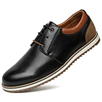Comfortable Oxford Formal Shoes for Men - Lace-up PU Leather Derby Shoes, Best Choice for Business and Daily Wear, Mens Soft Flat Casual Shoes, Suitable for All Seasons SS001-BLACK-41