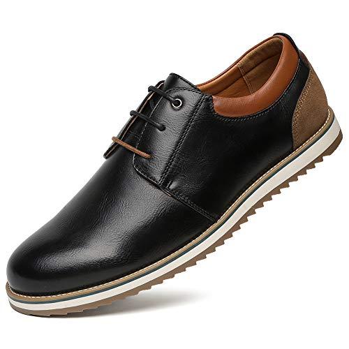 Zapatos Comodos Oxford de Cordones para Hombre - Zapatos Formal Derby Cuero de Imitación Hombre, Conveniente para Todas Las Estaciones SS001-BLACK-41