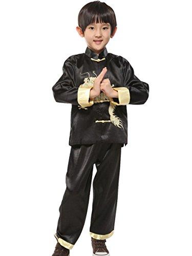gen Kung Fu Anzug Chinesischen Drachen Stickerei Lange Ärmel Tang Uniform Kostüm (Chinesische Kostüme Für Jungen)
