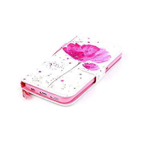 Nancen Apple iPhone 7 / 8 hülle, Flip Case Wallet Cover with Stand Function, Folio Bookstyle Handytasche Soft Silikon Bunte Muster Lederhülle Tasche PU Leder Slim Backcover Shell Handyhülle. Rosa Blume