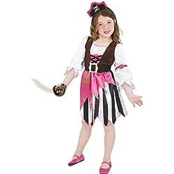 Disfraz de pirata rosa para niña, talla S (4-6 años)