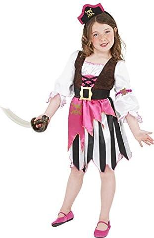 Smiffys Kinder Piraten Mädchen Kostüm, Kleid und Haarband, Größe: M, 38640 (Piraten Ideen Kostüme)