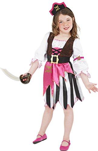 Imagen de smiffy's  disfraz de pirata rosa para niña, talla s 4 6 años
