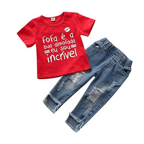 Allegorly Kleinkind Baby Kinder Mädchen Bekleidungssets 2 Stück Tops Kurzarm Lippenabdruck Briefdruck Oberteil T-Shirt + Geschredderte Loch Jeans Kleidung Outfits Set