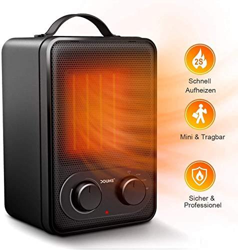 Douhe termoventilatore da bagno, stufa elettrica basso consumo, mini termoventilatore ceramica 1800w 220-240v 3 livelli di temperatura, veloce riscaldamento silenzioso 45 decibel da bagno camera