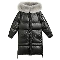Vrouwen Warm Long Down Jacket, Coat Pufferfish Winterjack Afneembare Bontrand Tie Zipper Waterdichte Capuchon Ski-Jack Dik Faux Fur Winter Down Jacket,Black,L