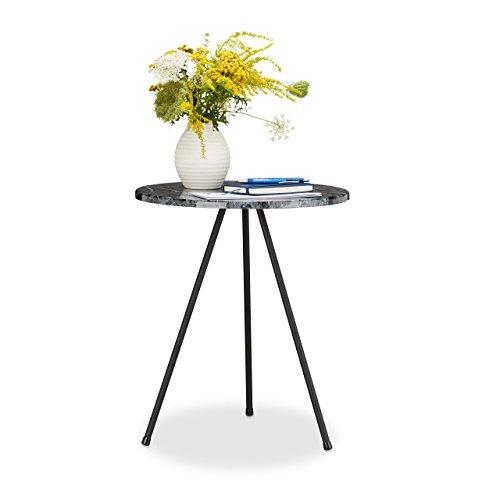 Relaxdays Beistelltisch Marmor Optik, Rundes Tischchen HxBxT: 47 x 40 x 40 cm, Dreibeiner...