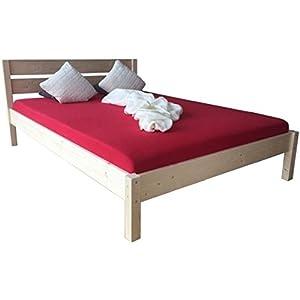 LIEGEWERK Massivholzbett Bett mit hohem Kopfteil Holz Holzbett 90 100 120 140 160 180 200 x 200cm hergestellt in BRD (100 cm x 200cm)