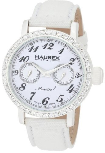 Haurex Italy Ladies Watch 6W343DW1 Maestro Rainbow with White Dial and White Fabric Strap