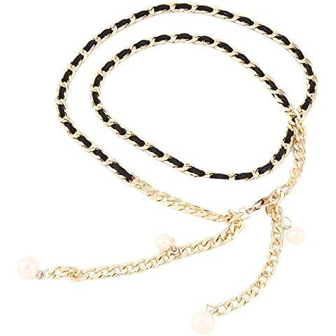 Damara Encantador Mujeres Correa Cintura Con Perla Y Metal Cinturones