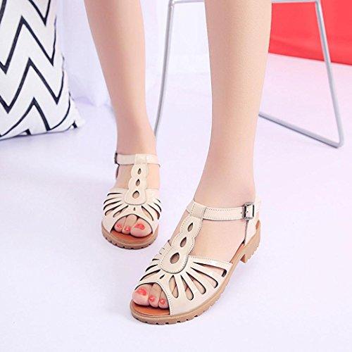 Bescita Mode Frauen Ausschnitte Sandalen Zehenkappe Low Keile hohlen Sommerschuhe Beige