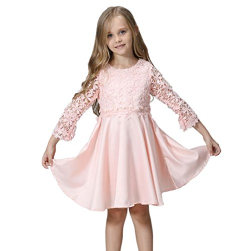 einkind Kinder, DoraMe Baby Mädchen Solide Prinzessin Kleid Lange ärmel Party Kleid Lässig O-Ausschnitt Baumwolle Outfits Kleidung für 3-9 Jahr (Rosa, 4 Jahr) (Disney Prinzessin-kleid Für Mädchen)