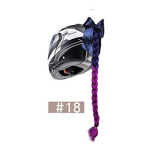 Motorradhelm Perücke Handgewebte Farbverlauf Helm Schachtelhalm Abnehmbare Saugnapf Helm Farbe Pferdeschwanz Perücke (#18)