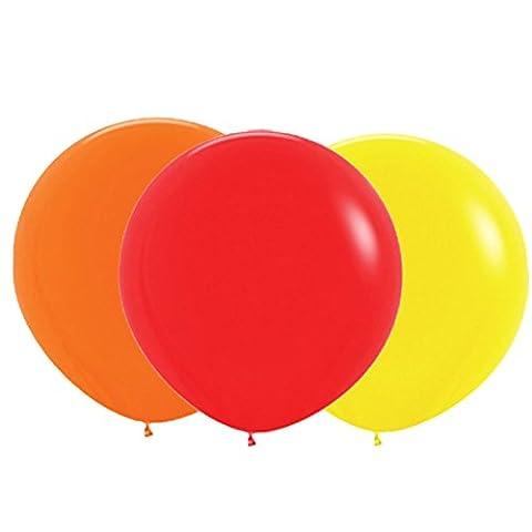 Sherry-K Lot de 3 Géant Ballons 90CM, Orange, Jaune, Rouge