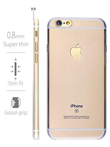 MyGadget TPU Silikon Hülle für - Apple iPhone 6 / 6s - ultra dünn (1 mm) inkl. Staubschutz Gummi Schutzhülle Cover Crystal Case Silikonhülle in Grau Hartplastik Transparent