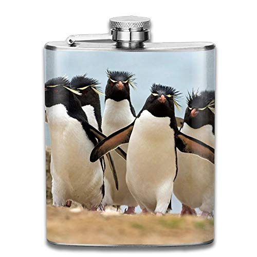 Presock Flachmann,Stainless Steel Hip Flask 7 Oz (No Funnel) Funny Emperor Penguin Full Printed