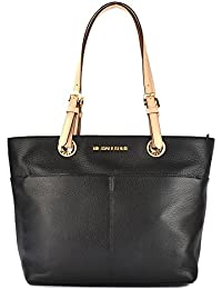 black and gray michael kors bag ya6d  MICHAEL Michael Kors Bedford Black Top Zip Pocket Tote