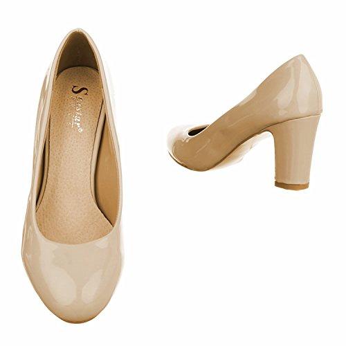 Klassische Damen Pumps Stilettos Abend Schuhe Party Hochzeit KAY Beige