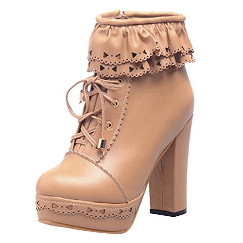 oasap-femme-boots-a-lacet-talons-hauts-talons-bloc-dentelle-zip-abricot-euro39-us7-uk5