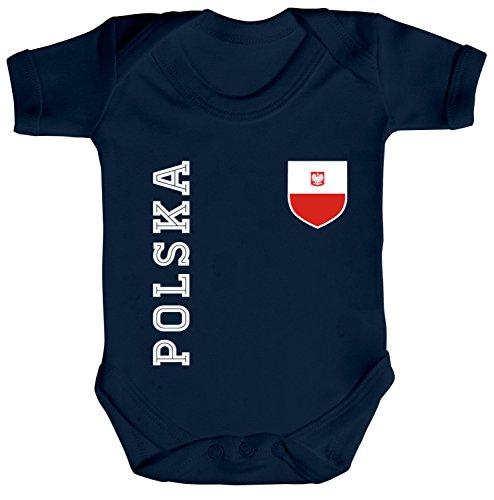 ShirtStreet Strampler Bio Baumwoll Baby Body kurzarm Jungen Mädchen Fan Trikot Polska, Größe: 12-18 Monate,Nautical Navy