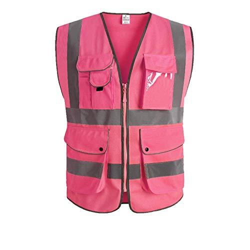 Sicherheitswesten Reflektierende Weste Nacht Tasche Fluoreszierende schutzkleidung BAU verkehrsfahrer reiten Sicherheitstechnik (Color : Pink, Größe : L)