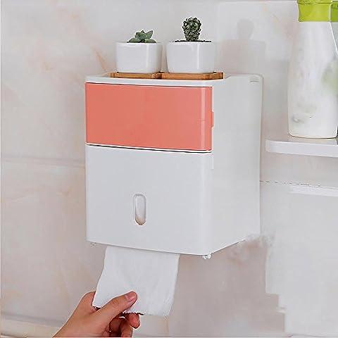 Papier Handtuchhalter freie perforierte lange Toilettenpapier Papier Handtuchhalter wasserdichte Toilettenpapier Kastenrolle Papier Rohr , pink deep powder (rubbish bin)