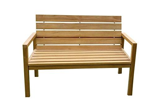 SAM® Teak-Holz Gartenbank mit Rückenlehne, massive Sitzbank für bis zu 2 Personen, ideal für Garten Terrasse Balkon oder Wintergarten, ca. 125 x 65 cm [521212]