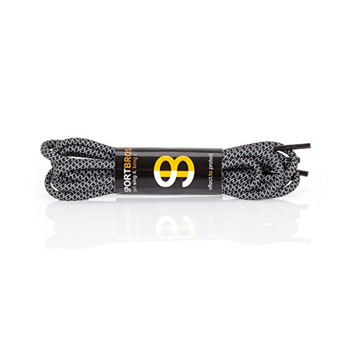 Reflektierende Performance Schnürsenkel von SPORTBROS® - Optimiere deine Laufschuhe für eine maximale Sichtbarkeit im Straßenverkehr und Outdoor Sport! - 120 x 0,4 x 0,4 cm (Qualität Runde Schnürsenkel Hohe)