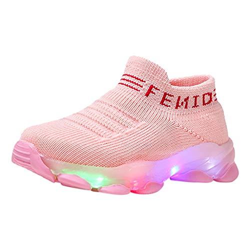 Kinder Babyschuhe Sneaker rutschfeste Gummisohle Federfliege Gewebt Atmungsaktiv Jungen und Mädchen Lichter Schuhe Socken Schuhe Geeignet Für 15 Monate-6 Jahre Kinder/Rosa