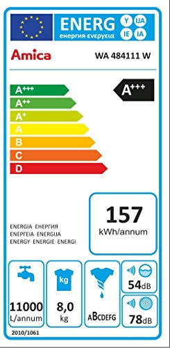 Amica WA 484111W autonome Belastung Bevor 8kg 1400tr/min A + + + Waschmaschine-Waschmaschinen (autonome, bevor Belastung, drehbar, links)