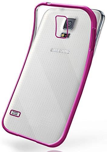 moex Samsung Galaxy S5 | Hülle Silikon Transparent Pink Chrom Back-Cover Silikonhülle Dünn Schutzhülle Handyhülle für Samsung Galaxy S5 / S5 Neo Case Ultra-Slim Tasche TPU (S5 Fall Gel Samsung Galaxy)