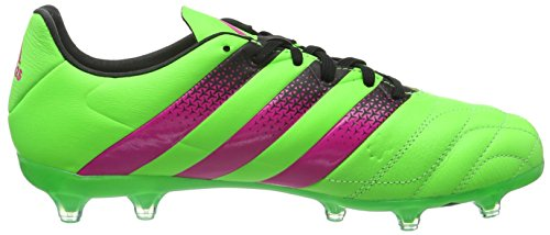 adidas Ace 16.2 FG/AG Leather, Chaussures de Football Compétition Homme, Mehrfarbig Grün (Solar Green/Shock Pink/Core Black)