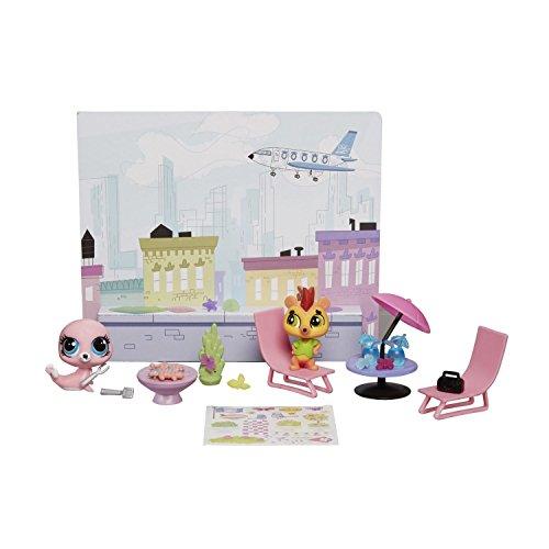 Preisvergleich Produktbild Littlest Pet Shop - #A8538 - Dachterasse Spielwelt - Minna Swimley und Russel Ferguson