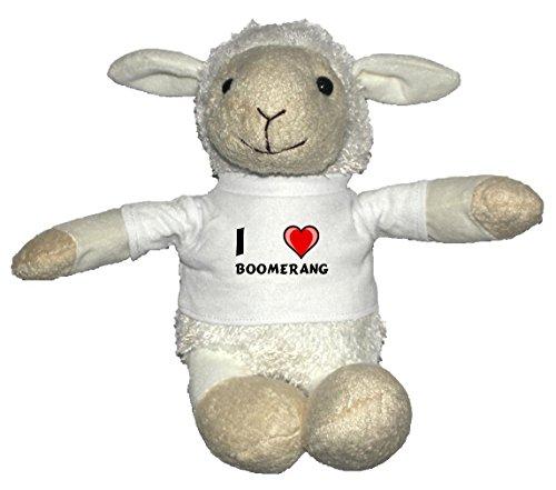Weiß Schaf Plüschtier mit T-shirt mit Aufschrift Ich liebe Boomerang (Vorname/Zuname/Spitzname)