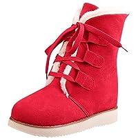 Beladla Botas De Nieve para Mujer Invierno Felpa Botas Calientes Gamuza Encaje Botas Martin Zapatos De Mujer