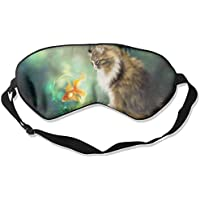 Eye Mask Eyeshade Cat with Fish Sleeping Mask Blindfold Eyepatch Adjustable Head Strap preisvergleich bei billige-tabletten.eu