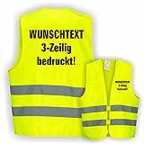 Warnweste GELB Sicherheitsweste Weste Ordner Security Crew (Text nach Wunsch 3 Zeilig 10er Paket)