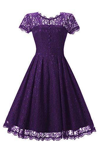 Gigileer Elegant Damen Kleider Spitzenkleid Cocktailkleid Knielanges Vintage 50er Jahr hochzeit Party violett L