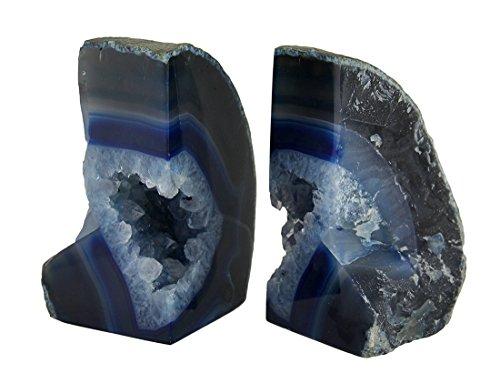 Lucido blu brasiliano agata geode Bookends 4-3,2kilogram