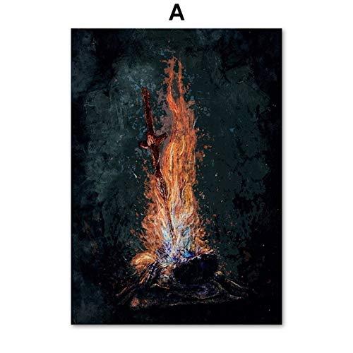 XWArtpic Bloodborne Dark Souls Videospiel Poster Wandkunst Leinwand Malerei Nordic Poster Und Drucke Wandbilder Für Wohnzimmer Decor A 40 * 50 cm - Soul Köln Für Männer