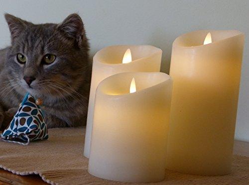 FloKa69® Flackernde LED Kerzen   Echtwachskerzen 3er Set, Elfenbein   Flammenlose bewegliche Flamme   Fernbedienung mit Timerfunktion   Höhe: 15 cm, 12,5 cm, 10 cm und ø 7,5 cm