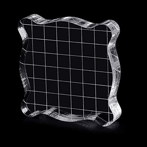 ECMQS Stempelblock Acryl Mit Grid Und Grip, Acryl Clear Stamping Blocks Set Wesentliche Stanzwerkzeuge Für Scrapbooking Handwerk Machen -