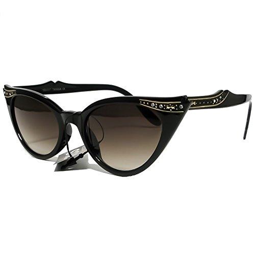 Gafas de sol KISS ® mod. PIN-UP cristales gato ojo-mujer moda vintage COOL gafas de sol - NEGRO