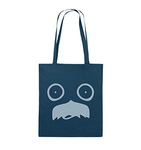 Comedy Bags - GESICHT SCHNURRBART - COMIC - Jutebeutel - lange Henkel - 38x42cm - Farbe: Schwarz / Silber Navy / Eisblau