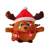SUPVOX Weihnachtsplüschtier füllte Ren mit Musik und Lichter Weihnachtsgeschenkausgangsdekoration an